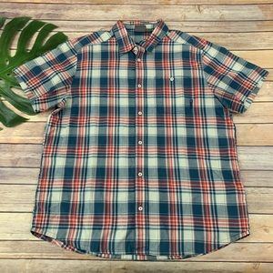 Merrell men's red and blue plaid button up shirt